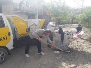 Temizlik işçilerinin zorlu çalışması