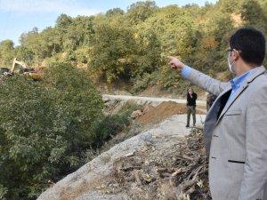 Dağlıca'da yol yapım ve onarım çalışması