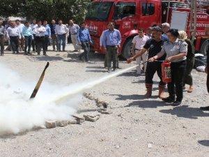 Hakkari'de yangın tatbikatı