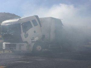 Hareket halindeki kamyon alev alev yandı