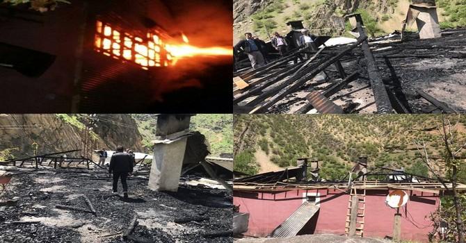 Hakkari Olgunlar köyünde korkutan yangın